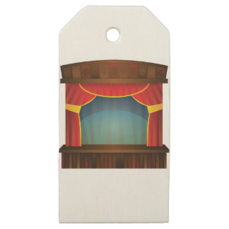open stage red right wooden gift tags