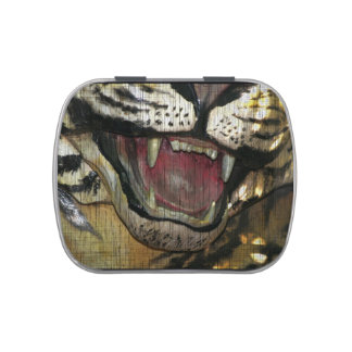 Open tiger mouth grunged image candy tin
