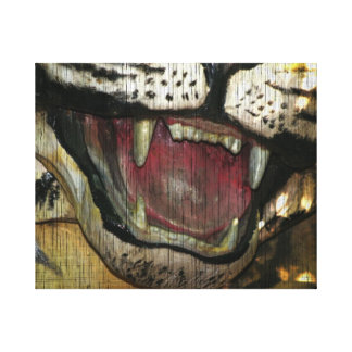 Open tiger mouth grunged image canvas print