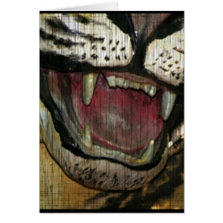Open tiger mouth grunged image greeting card