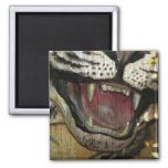 Open tiger mouth grunged image refrigerator magnet