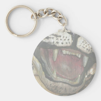 Open tiger mouth statue faded image basic round button keychain