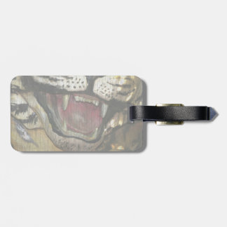Open tiger mouth statue faded image bag tag