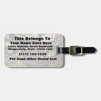 Open tiger mouth statue faded image luggage tags