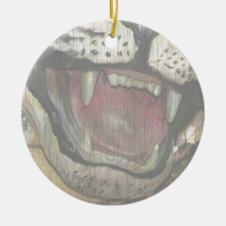 Open tiger mouth statue faded image christmas tree ornaments