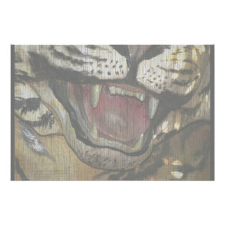 Open tiger mouth statue faded image print