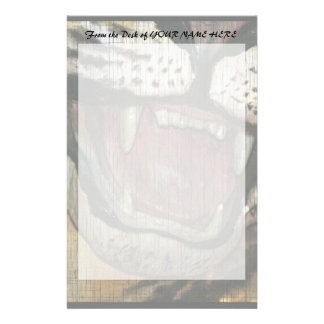 Open tiger mouth statue faded image stationery