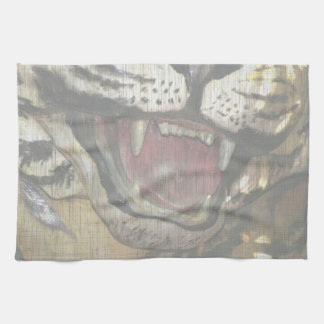 Open tiger mouth statue faded image towel