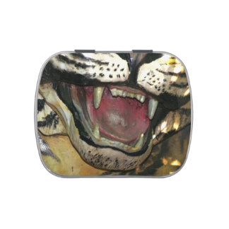 Open tiger mouth statue jelly belly tin