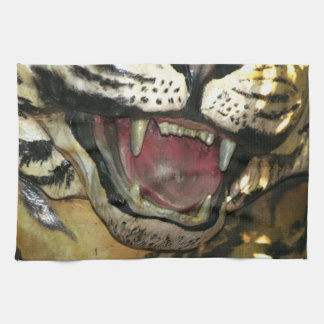 Open tiger mouth statue towel