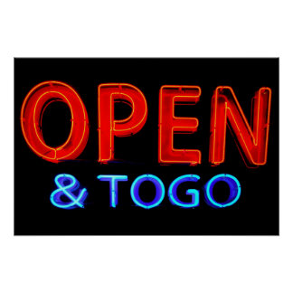 Open & To Go Neon Sign Print