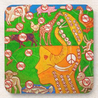 Open Vegan mind Beverage Coaster