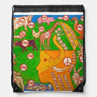Open Vegan your mind Drawstring Bag