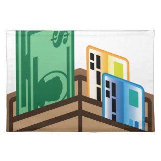 Open Wallet Icon Bills and cards Placemat