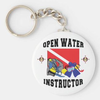 Open Water SCUBA Instructor Basic Round Button Keychain