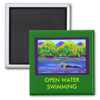 Open Water Solo 2 Inch Square Magnet