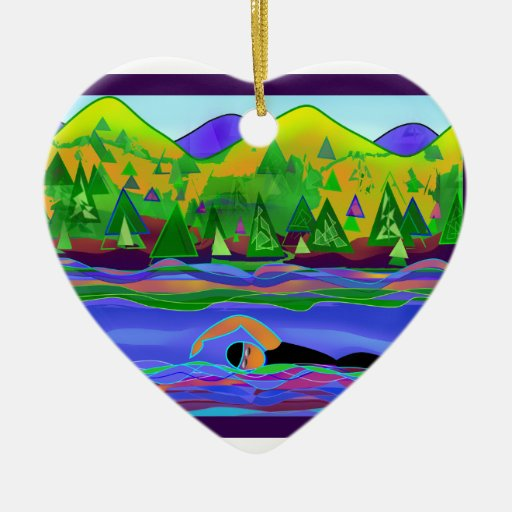 Open Water Solo Double-Sided Heart Ceramic Christmas Ornament