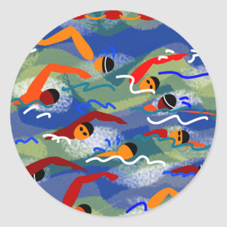 OPEN WATER Swim Classic Round Sticker