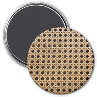 Open Weave Rattan Cane Large Round Magnet