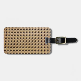 Open Weave Rattan Cane Luggage Tag