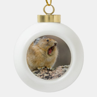 Open Wide Ceramic Ball Christmas Ornament