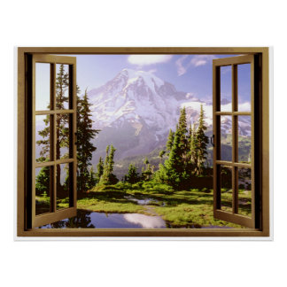 Open Window at Mt. Rainier Poster