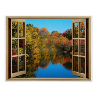 Open Window Autumn Lakeside Poster