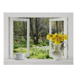 Open Window onto Woodland Scene with Daffodils Poster