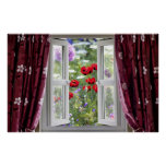 Open window view onto wild flower garden poster