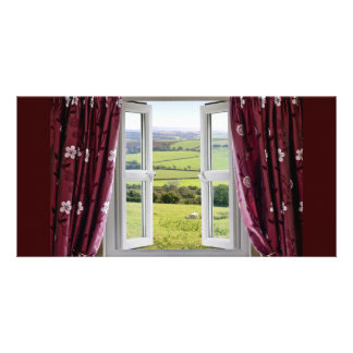 Open window with view across and English countrysi Card