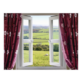 Open window with view across and English countrysi Flyer