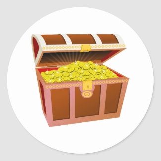 Open Wooden Treasure Chest with Shiny Gold Coins Classic Round Sticker