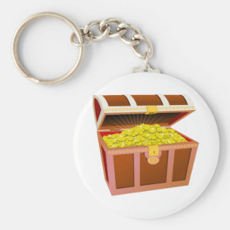 Open Wooden Treasure Chest with Shiny Gold Coins Key Chain