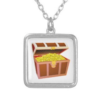 Open Wooden Treasure Chest with Shiny Gold Coins Custom Necklace