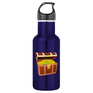 Open Wooden Treasure Chest with Shiny Gold Coins Stainless Steel Water Bottle
