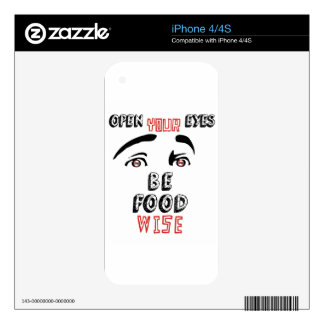 Open Your Eyes Be Food Wise Skin For The iPhone 4