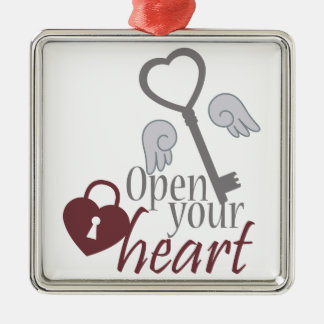 Open Your Heart Metal Ornament