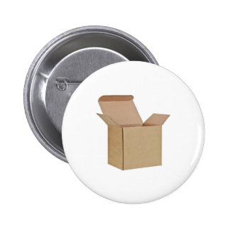 Opened cardboard box pinback buttons