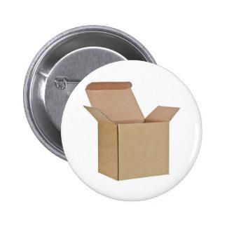 Opened cardboard box pinback button