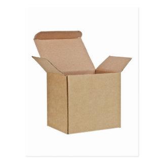 Opened cardboard box postcards