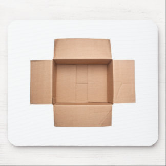 Opened corrugated cardboard box mouse pad