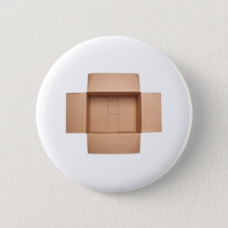 Opened corrugated cardboard box pinback button