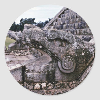 Opened Mouth View Of Serpent On El Castillo Classic Round Sticker
