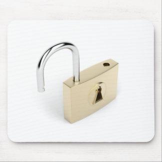 Opened padlock mouse pad