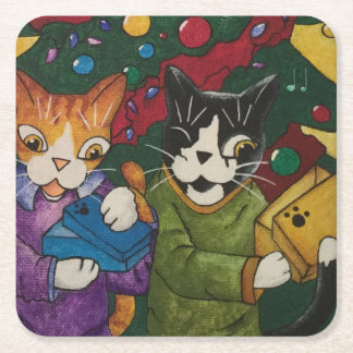 Opened Presents Square Paper Coaster