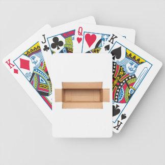 Opened retangular cardboard box bicycle playing cards