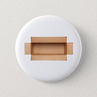 Opened retangular cardboard box pinback button