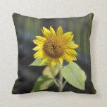 Opened sunflower throw pillow