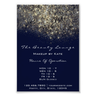 Opening Hours Gold Blue Navy Confetti Sequin Poster