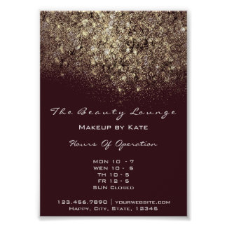Opening Hours Gold Burgundy Confetti Sequin Poster